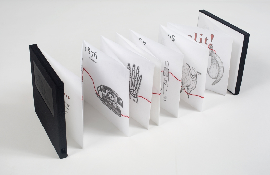 Photo of book standing open and stretched out across table with glimpses of several pages - stippled illustrations of telephone, skeletal hand, pregnancy test, Dolly the sheep, and a clitoris - red embroidery visible throughout