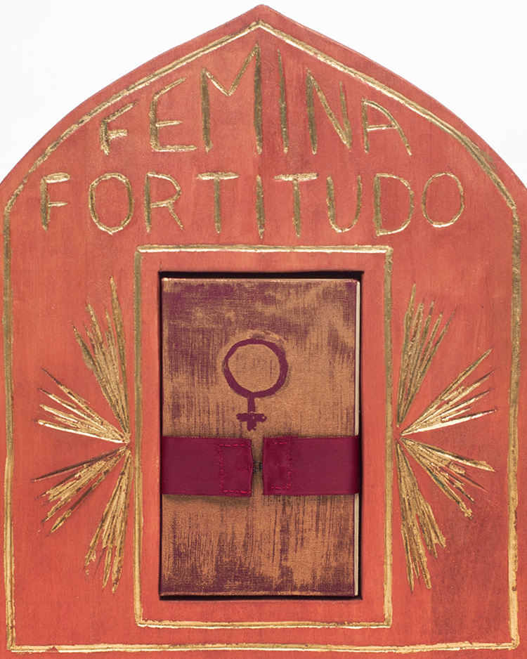 Detail image of Femina Fortitudo Altar - rose stained wood with gold detail and nestled book with Venus symbol at center