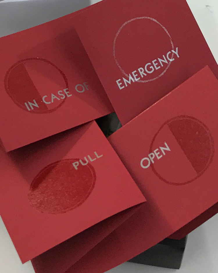 "Detail image from Emergency Tampon Gift Box - folded red paper with silver and red printing ""In case of emergency pull open"""